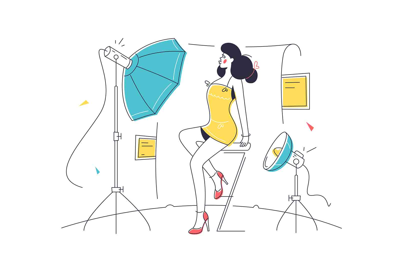 Model posing in photo studio vector illustration. Cameraman shooting woman for magazine linear. Professional model, modeling concept