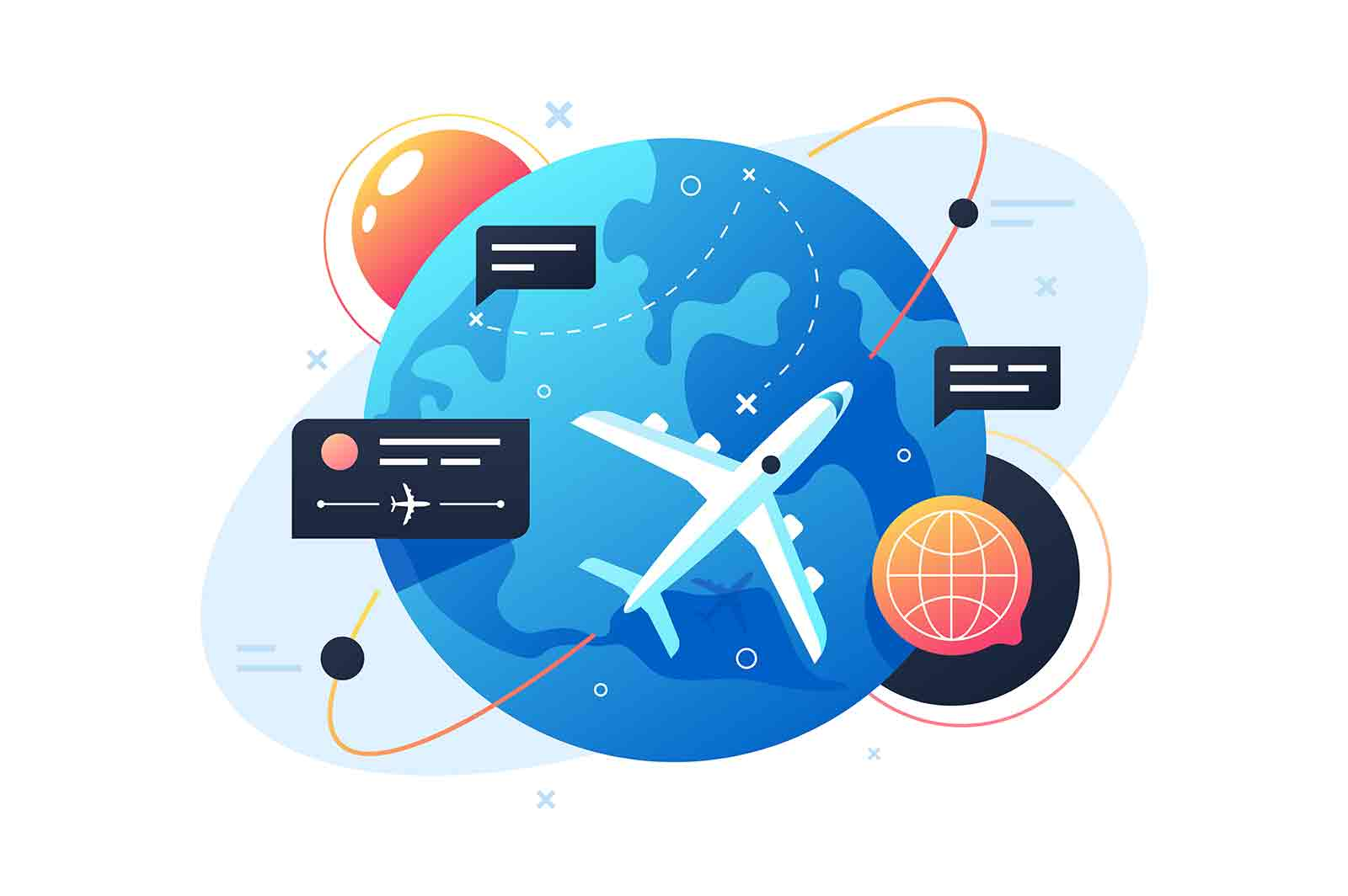 Plane flies around planet using points and messages box. Isolated concept fly vehicle with earth tourism, trip and journey. Vector illustration.