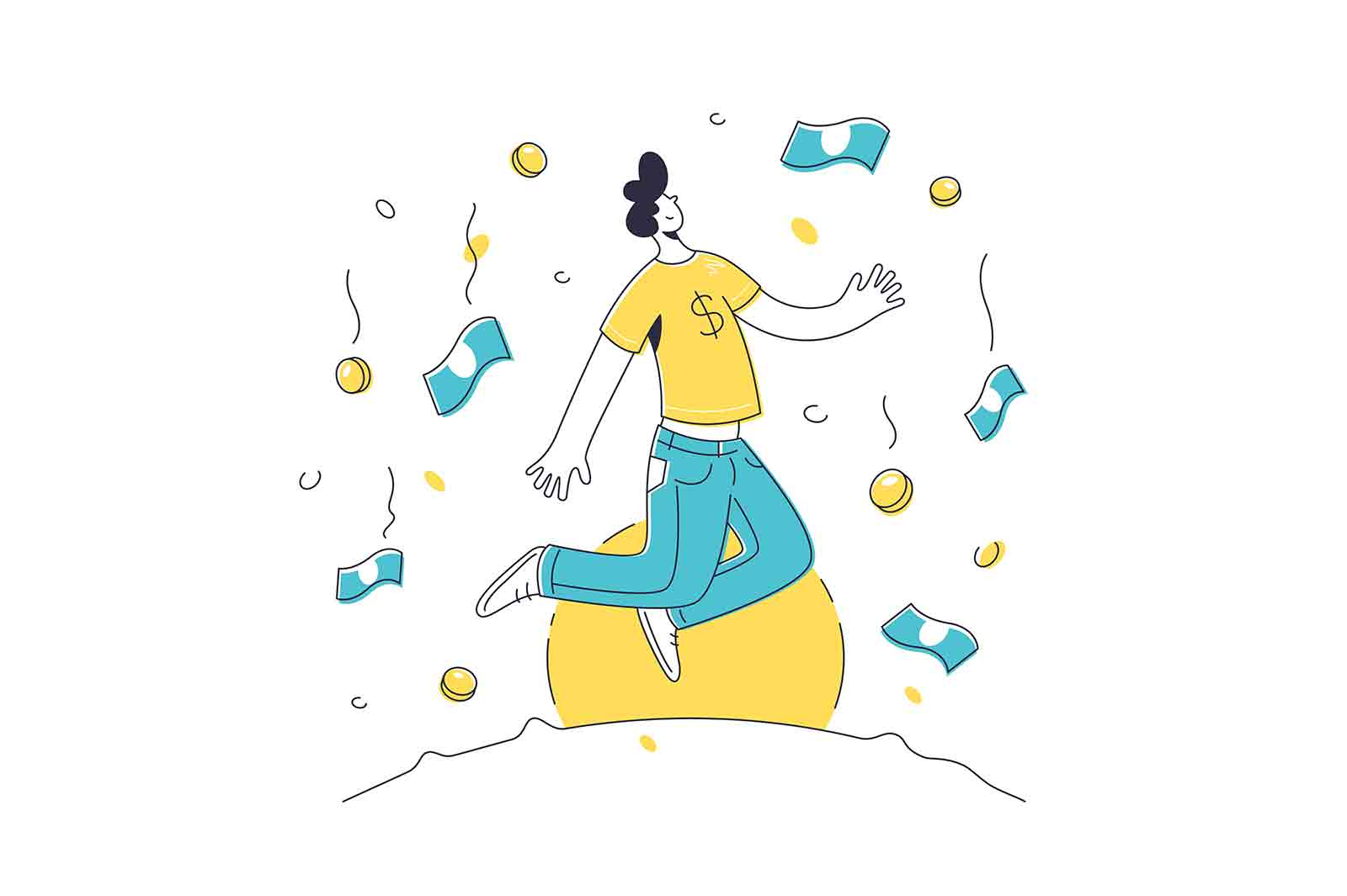 Character stand under rain of money vector illustration. Falling banknotes and coins from sky line style. Success, wealth, finance concept