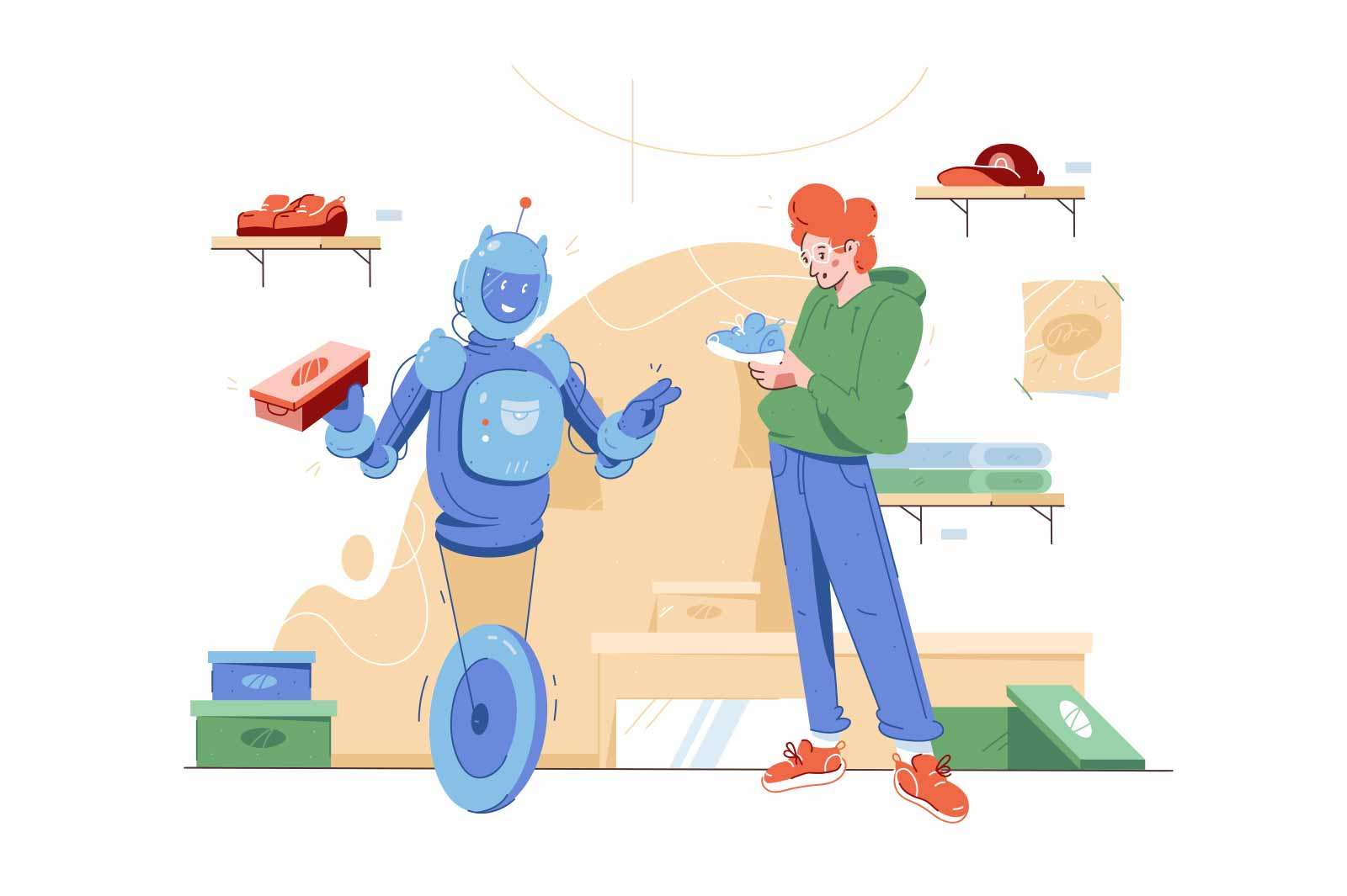 Robot help in choosing shoes vector illustration. Robot providing customer assistance flat style. Artificial intelligence, shopping concept
