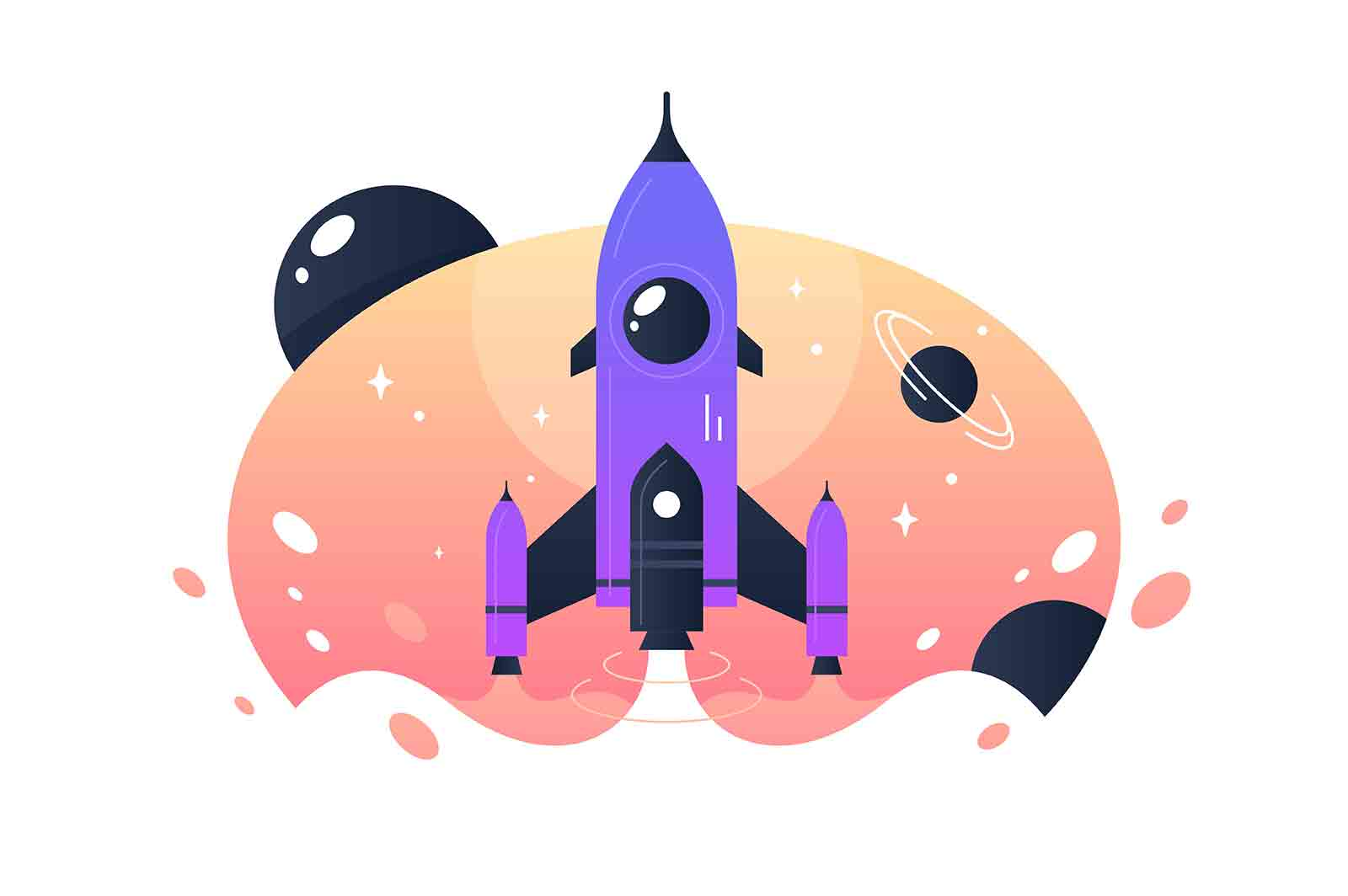 Startup rocket from earth into space and flights among stars. Concept aircraft for science, expeditions and tourism. Vector illustration.