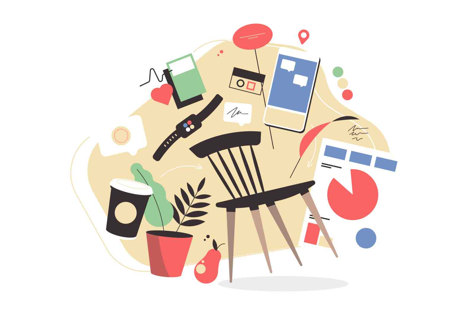 Set of various items for living vector illustration. Collection of objects chair, phone, watch, plant lat style. Modern supplies concept
