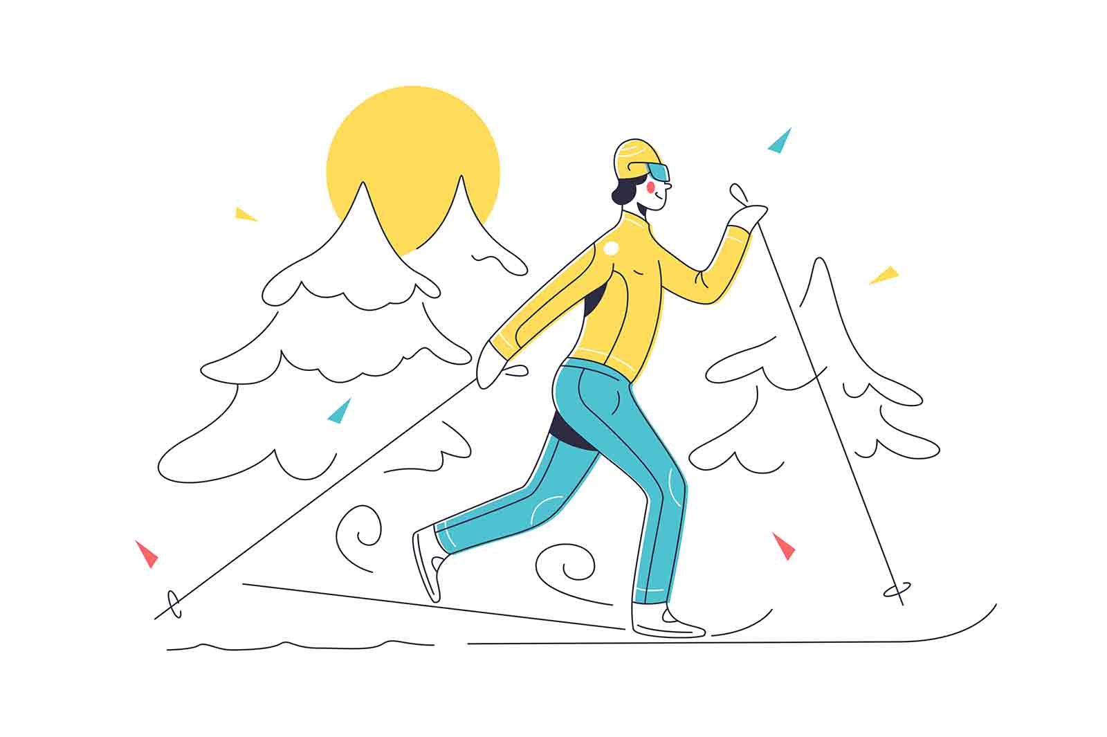 Skiing in mountains with equipment vector illustration. Ski resort landscape in snow linear. Ski, active sport, winter season, hobby concept