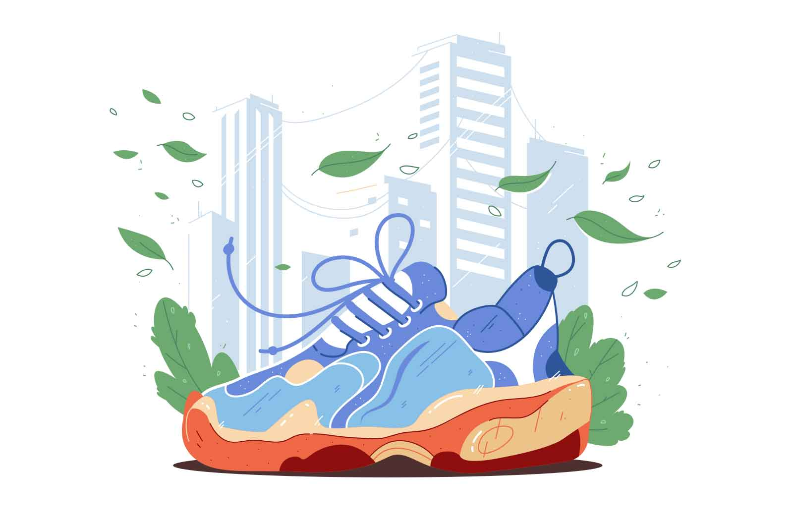 Bright massive sneaker in blue colour vector illustration. Workout shoe, footwear for runner, sportsman flat style. Fashion, sport concept