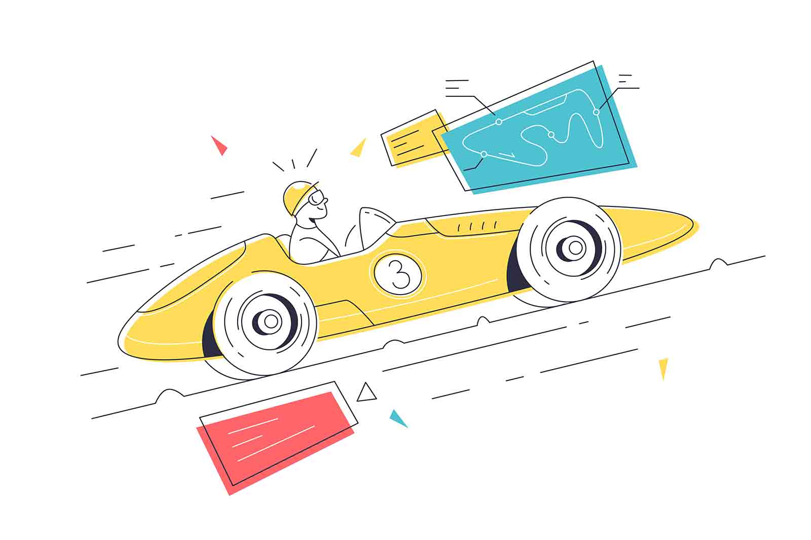 Luxury sport car for racing competition vector illustration. Supercar with high speed for race linear. Vehicle, modern automobile concept