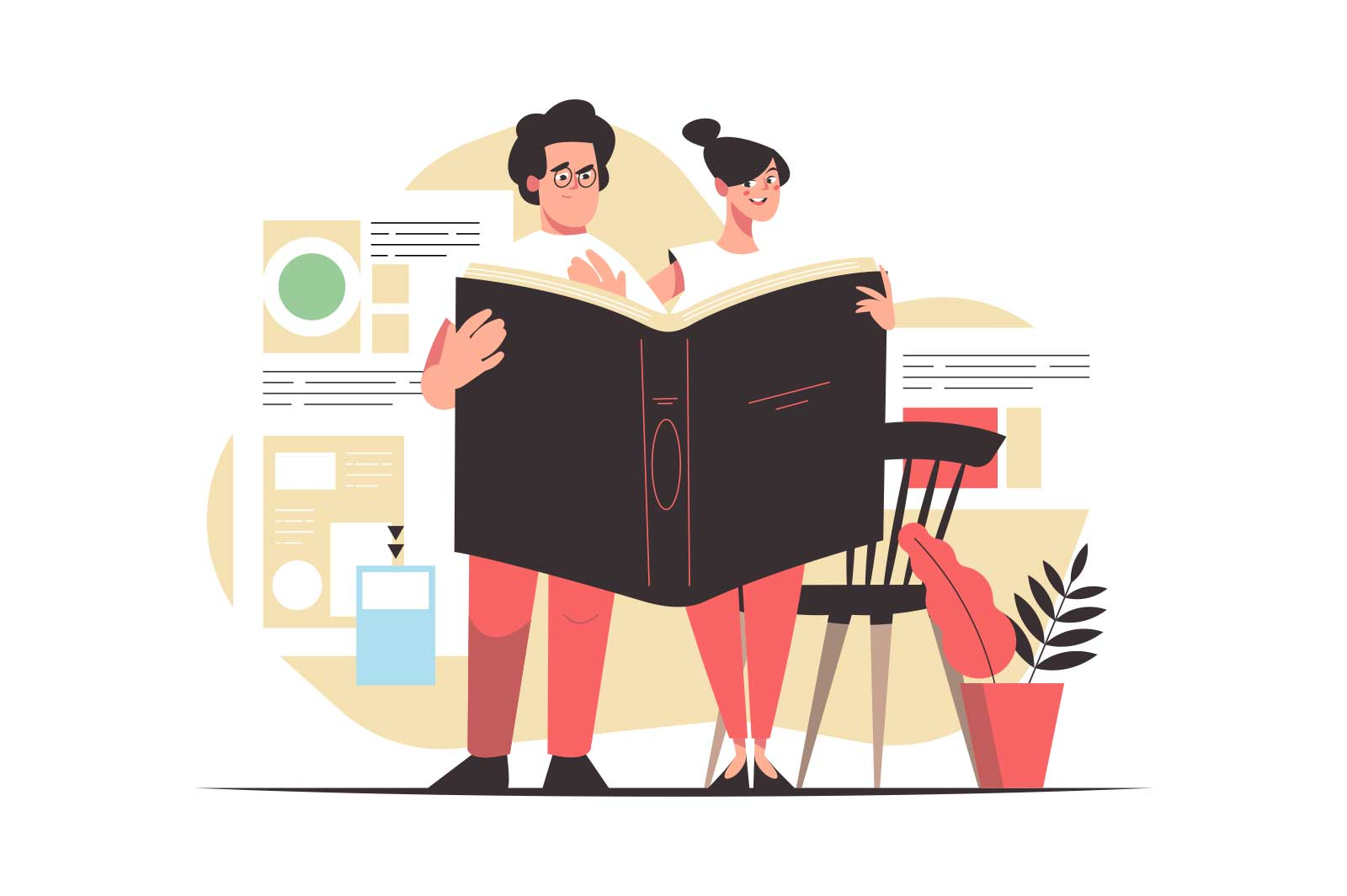 Man and woman reading together vector illustration. Young couple holding big book flat style. Love, couple, education, knowledge concept