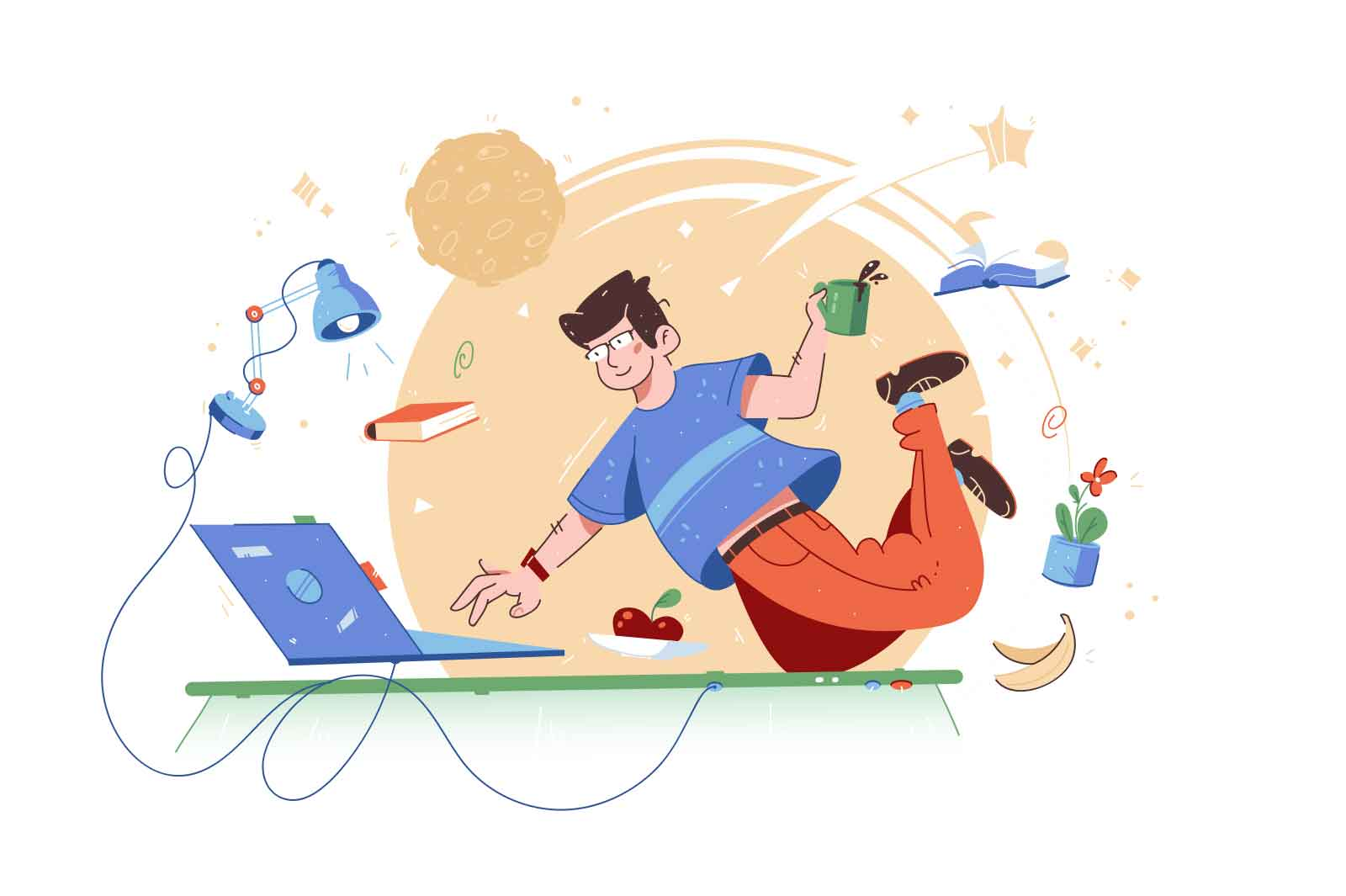 Clever guy fly in work space vector illustration. Creative character floating in workplace flat style. Idea, technology, development concept