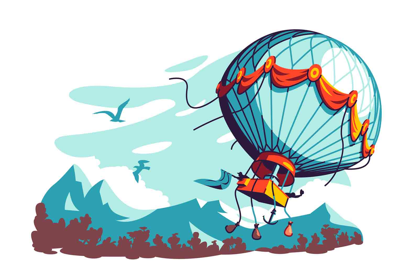 Hot air balloon flying in air vector illustration. Romantic flight in mountains with view flat style. Adventure, nature, landscape concept