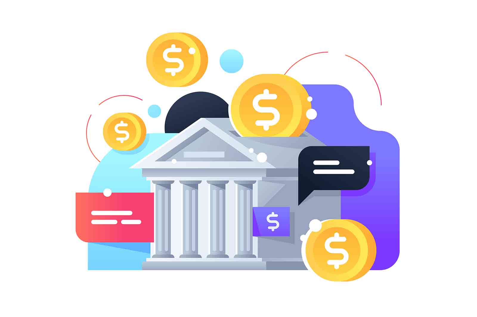 Bank money box saving gold coins. Isolated concept building for modern security cash using web technology. Vector illustration.