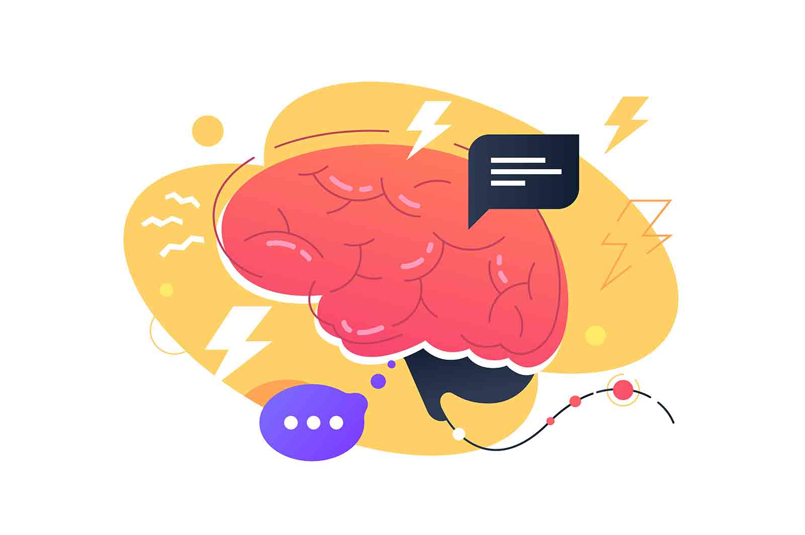 Brainstorming ideas and concepts vector illustration. Stylized adult brain with space for text flat style. Colourful image of human organ. Working nonstop concept.
