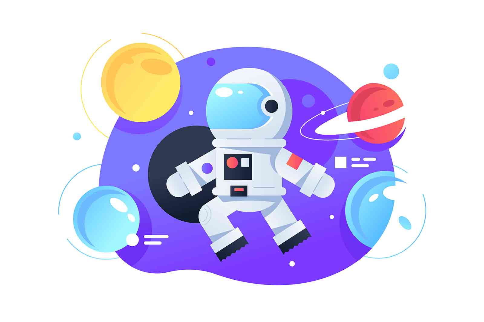 Astronaut in space vector illustration. Colourful bright planets flat style. Galaxy and adventure. Astronaut float in space. Trip on moon. Spaceman.