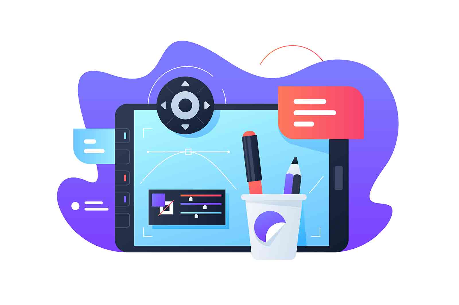 Create design on graphic tablet vector illustration. Screen with notification flat style. Art on modern device. Technology and creative job concept.