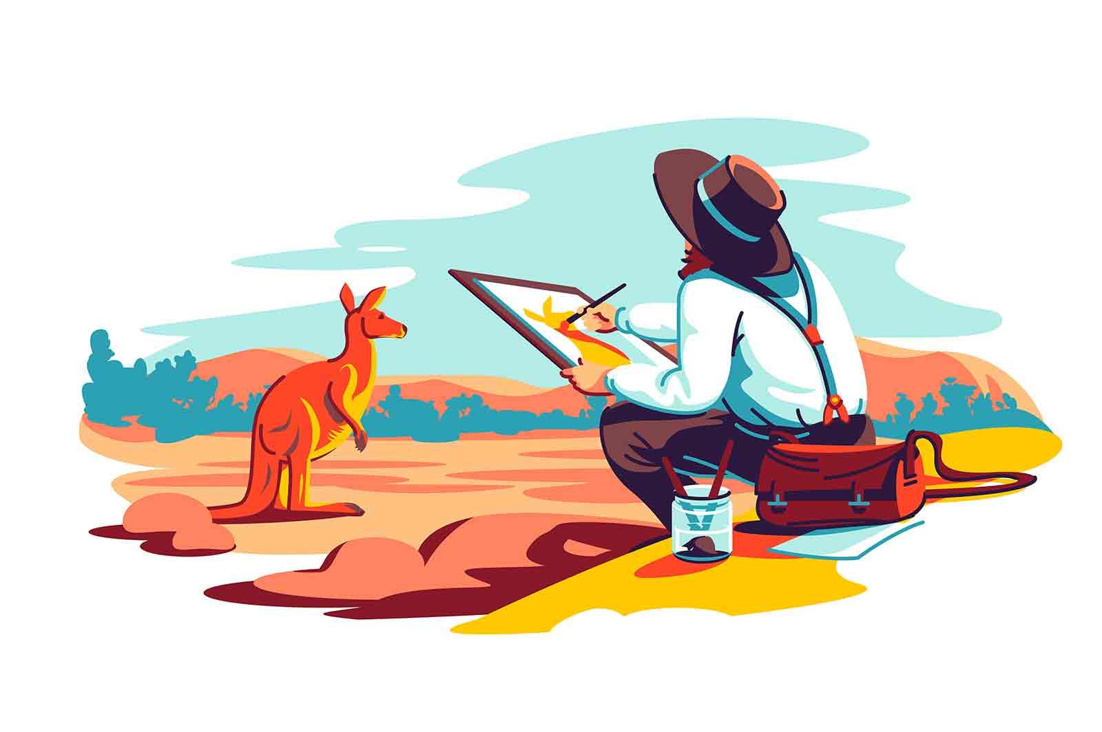 Artist exploring wild nature and paint vector illustration. Paint kangaroo masterpiece on nature flat style. Art, hobby, interest concept