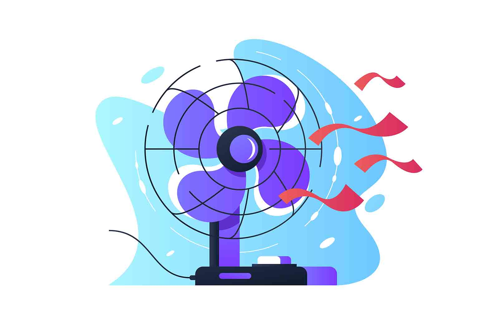 Table fan wind blows using red tape for visual presentation. Isolated concept icon of modern technology for summer heat rescue. Vector illustration.