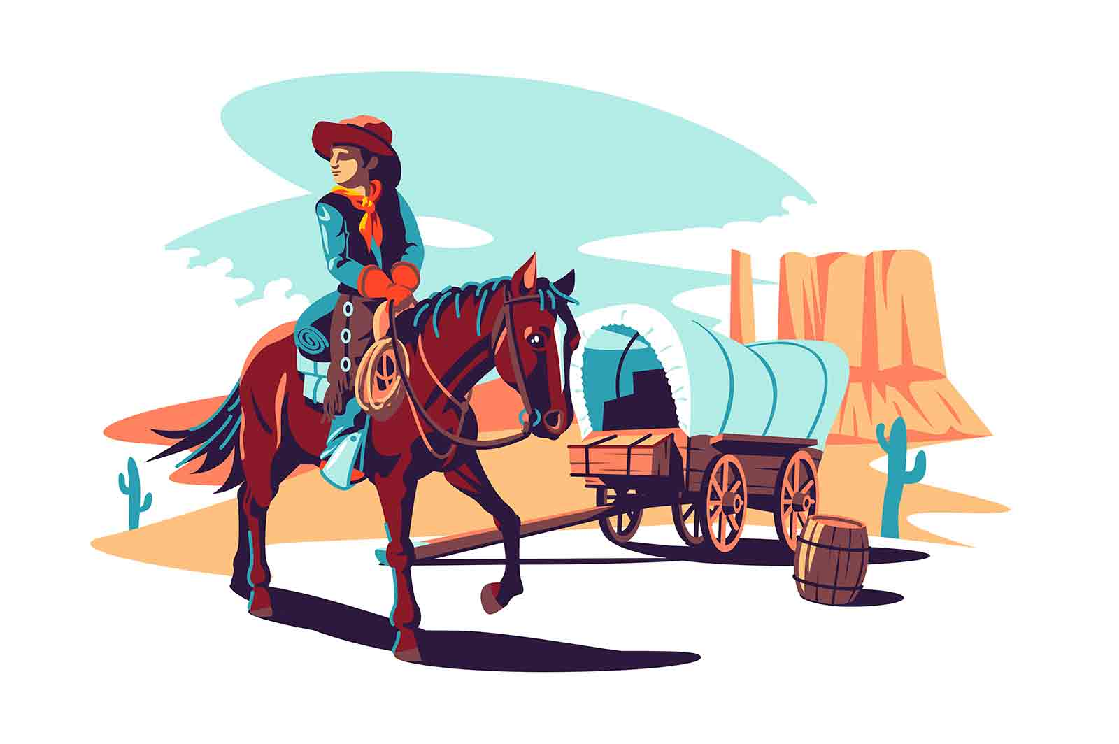 Landscape with wild american prairies vector illustration. Man on horse in hat flat style. Wild west, frontier, border protection concept