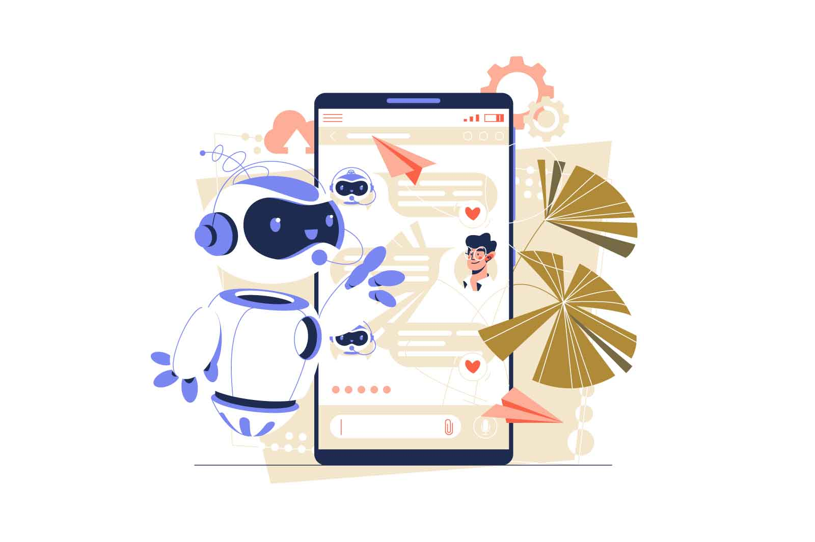 Chatbot helper customer service support vector illustration. People talk with chatbot robot in smartphone app flat style. Platform concept
