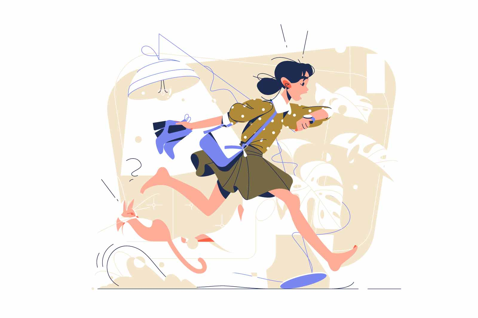 Girl run in hurry to work vector illustration. Jogging adult character running down street barefoot flat style. Rush, late, hectic concept