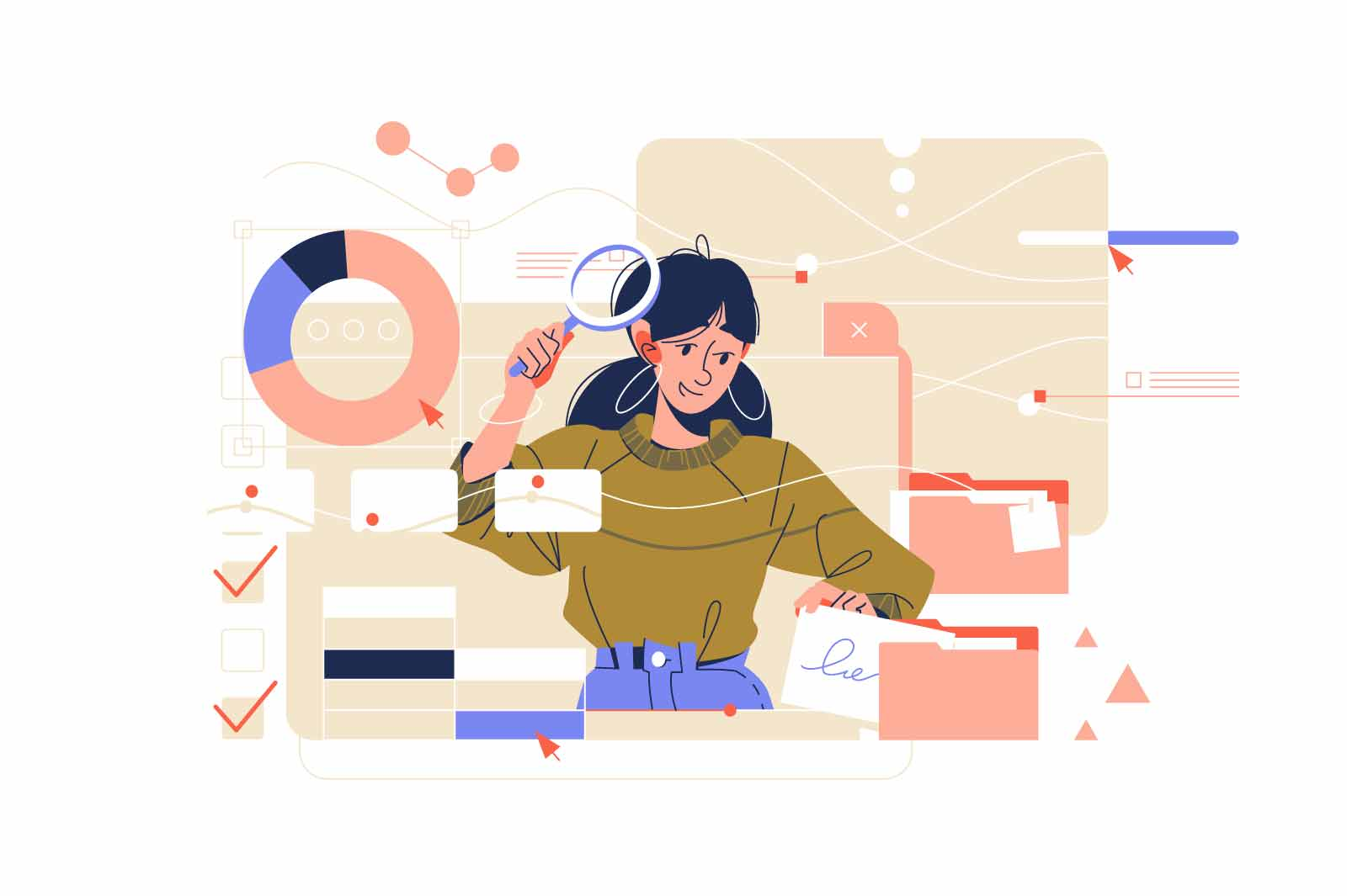 Girl character search for information vector illustration. In search on virtual screen with magnifying glass flat style. Archive concept