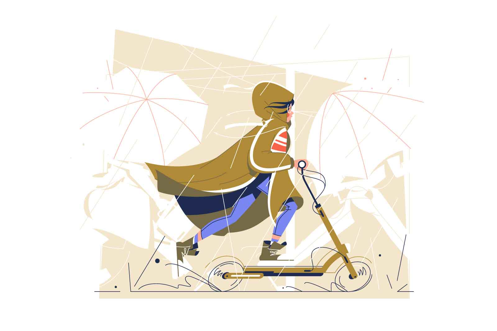 Girl riding scooter under rain vector illustration. Teenager spend time in part in bad weather flat style. Physical activity, hobby concept