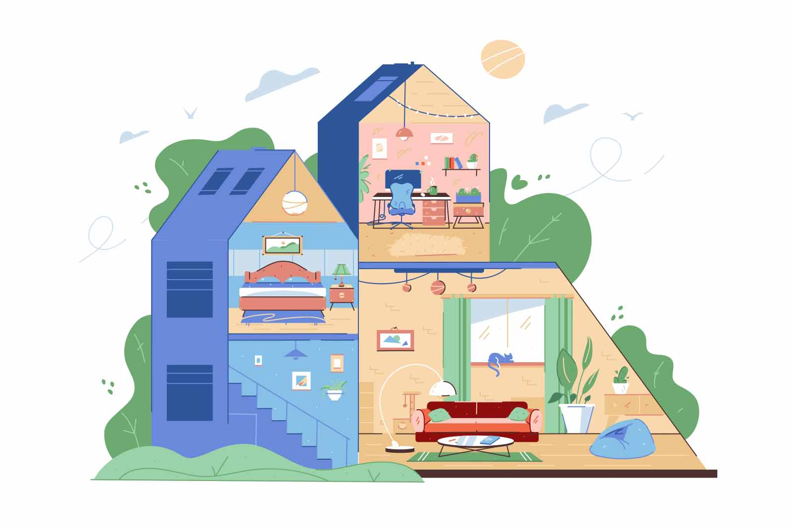 Well equipped house in nature vector illustration. Modern room interior with furniture flat style. Exterior, architecture, moving concept