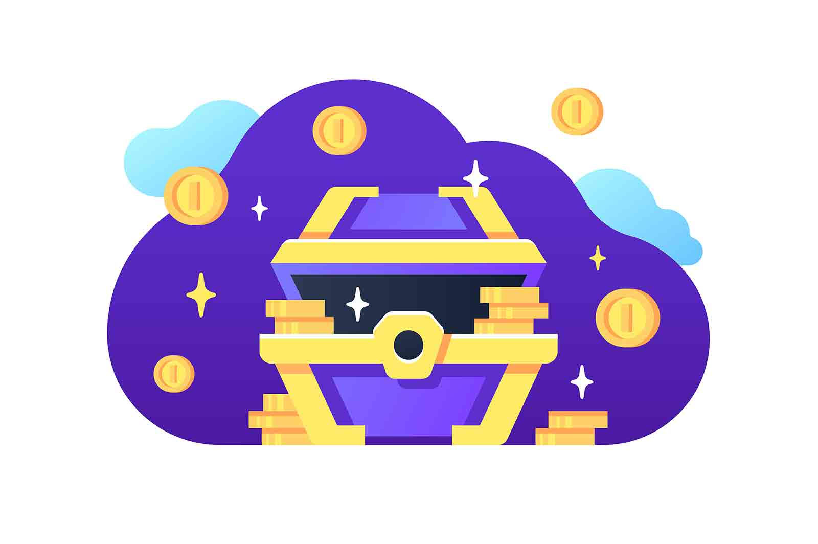 Bright money chest vector illustration. Open golden and blue antique treasure chest with coins flat style. Sparkle decor. Pirate theme concept.