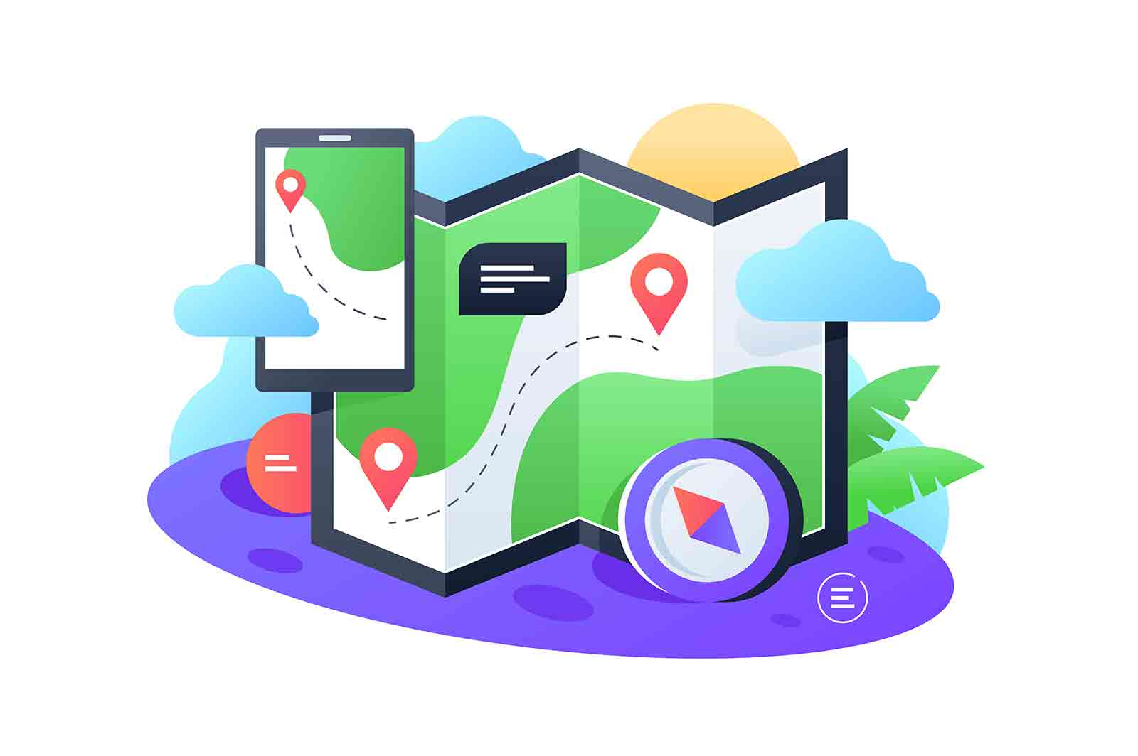 Navigation map and telephone vector illustration. Pave way, get directions flat style. App for tourist. Travel and guidebook concept. Isolated on white background