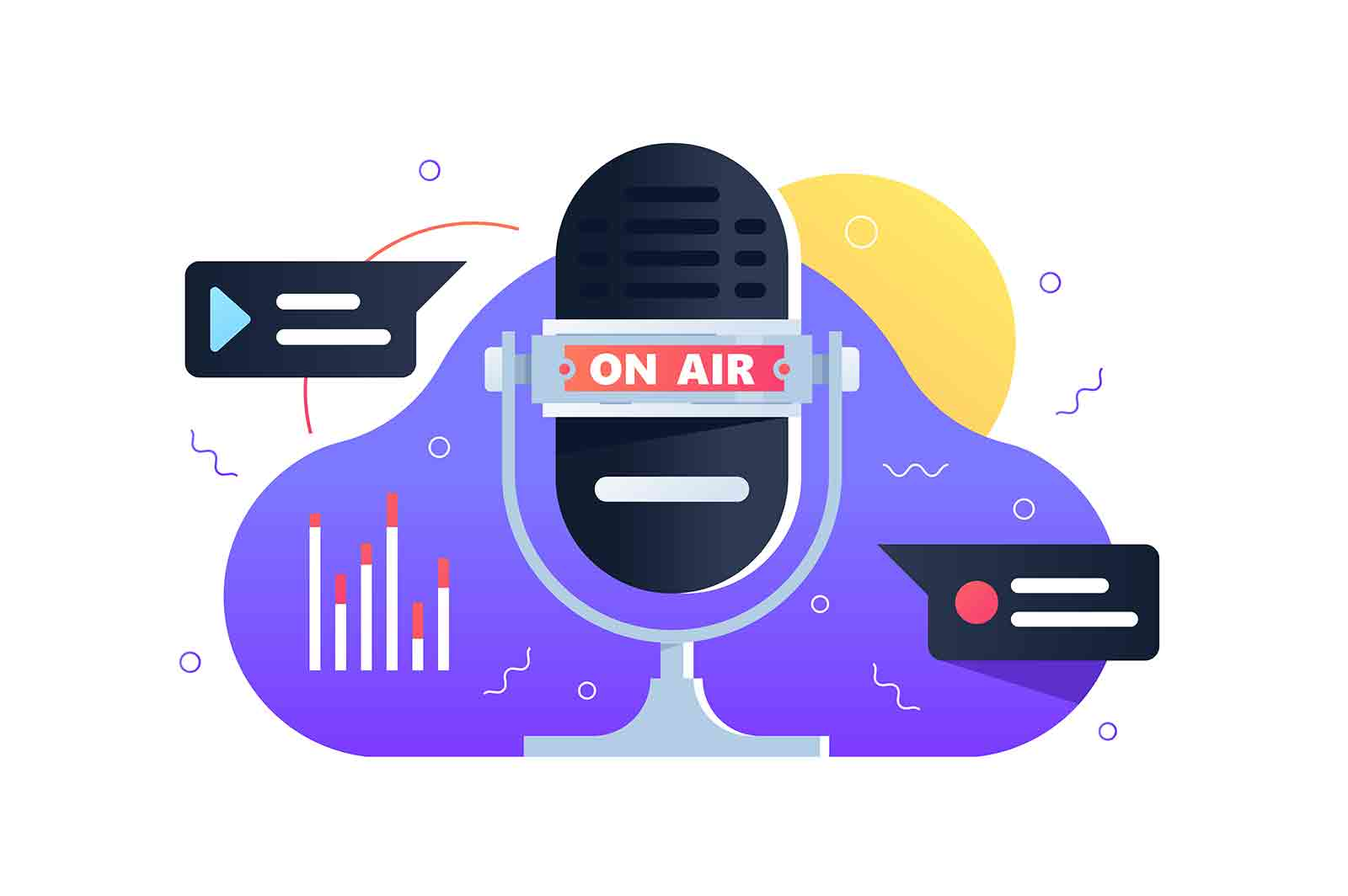 Recording studio elements vector illustration. Modern microphone with lettering flat style. Broadcast and technology. Studio record and radio stream.