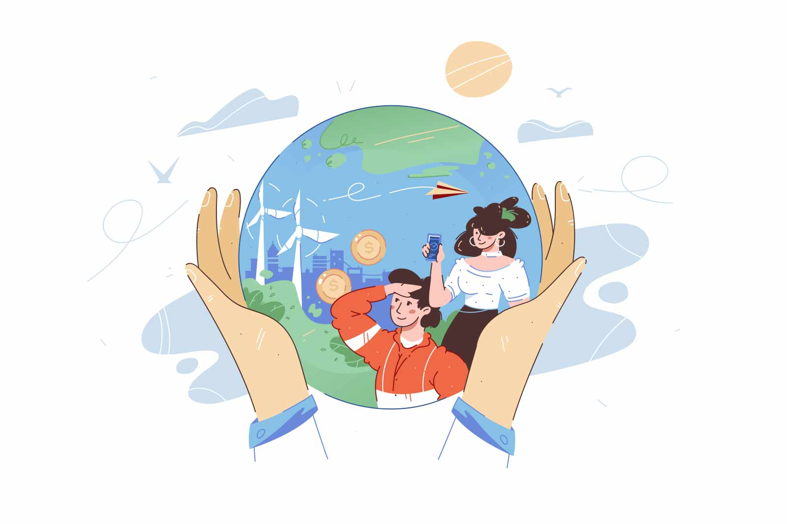 Person hands hold whole planet vector illustration. Best place for living flat style. Future technologies, save planet, earth day concept