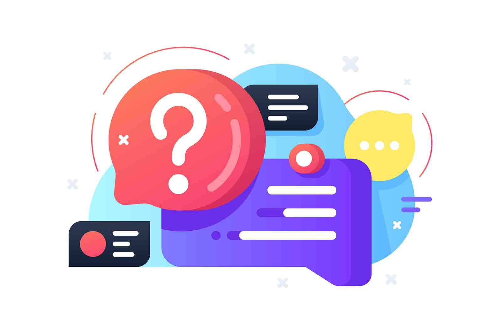 Question and answer vector illustration. Colourful bubbles with text and question mark flat style. Communication and conversation concept.