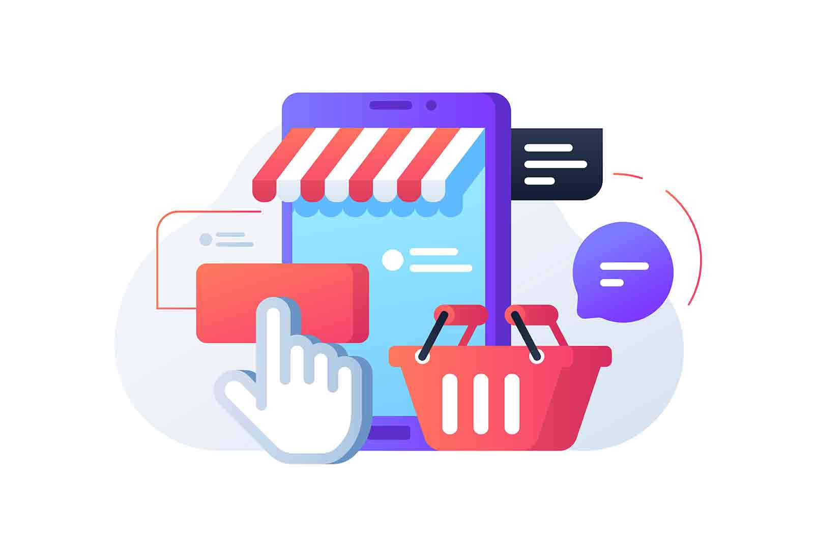 Fast shopping online vector illustration. Store and basket flat style. Buy products from home. Bubbles with notification. Purchase online concept.