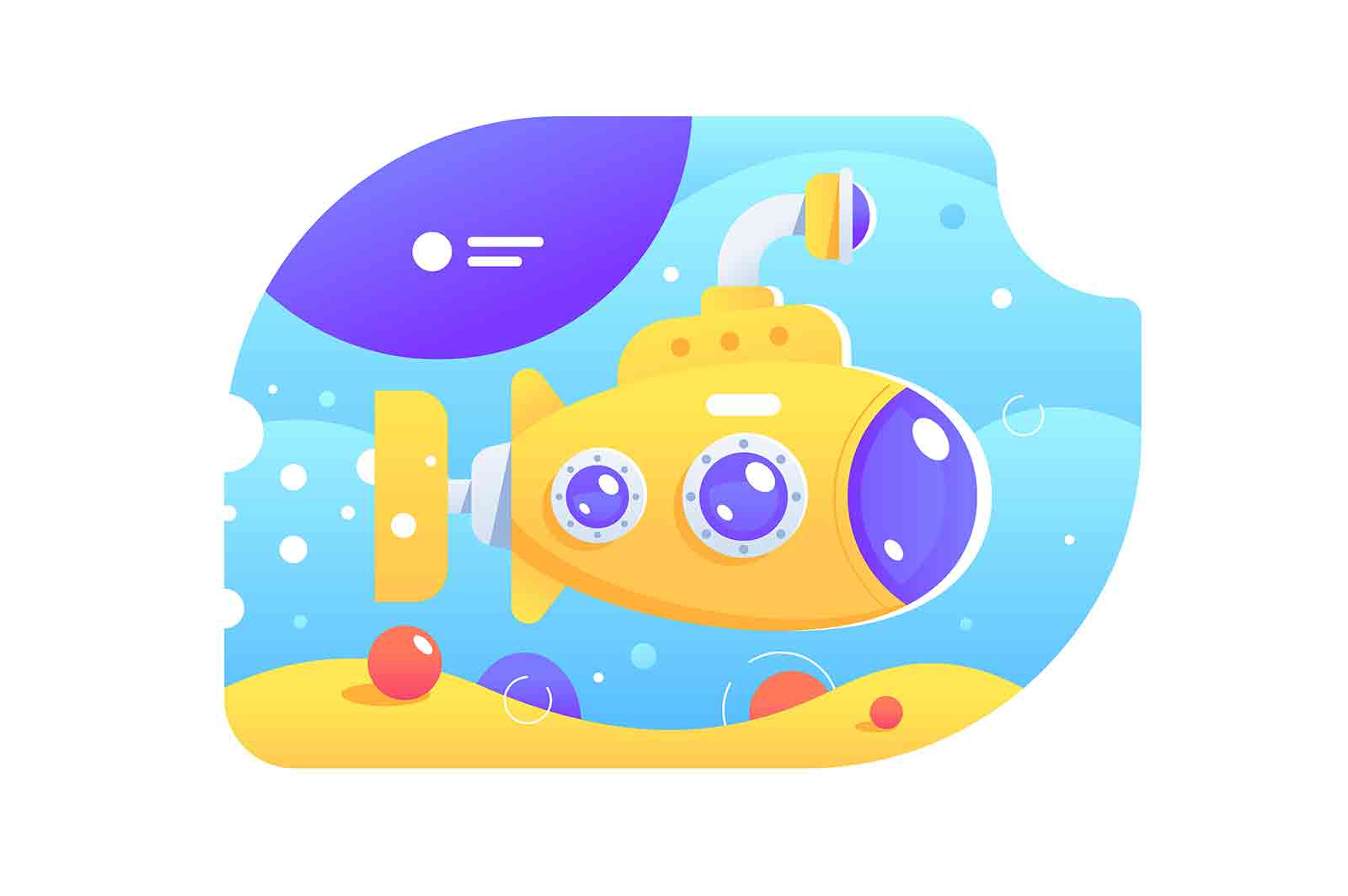 Bright colourful submarine vector illustration. Yellow submarine with periscope under water flat style. Marine life. Ocean landscape concept.