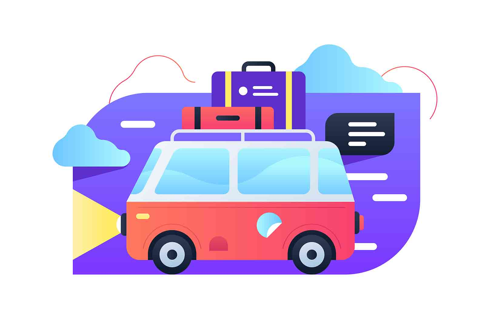 Travelling by car vector illustration. Bright red truck with luggage on top flat style. Joyful weekend. Family mini trip to nature concept.