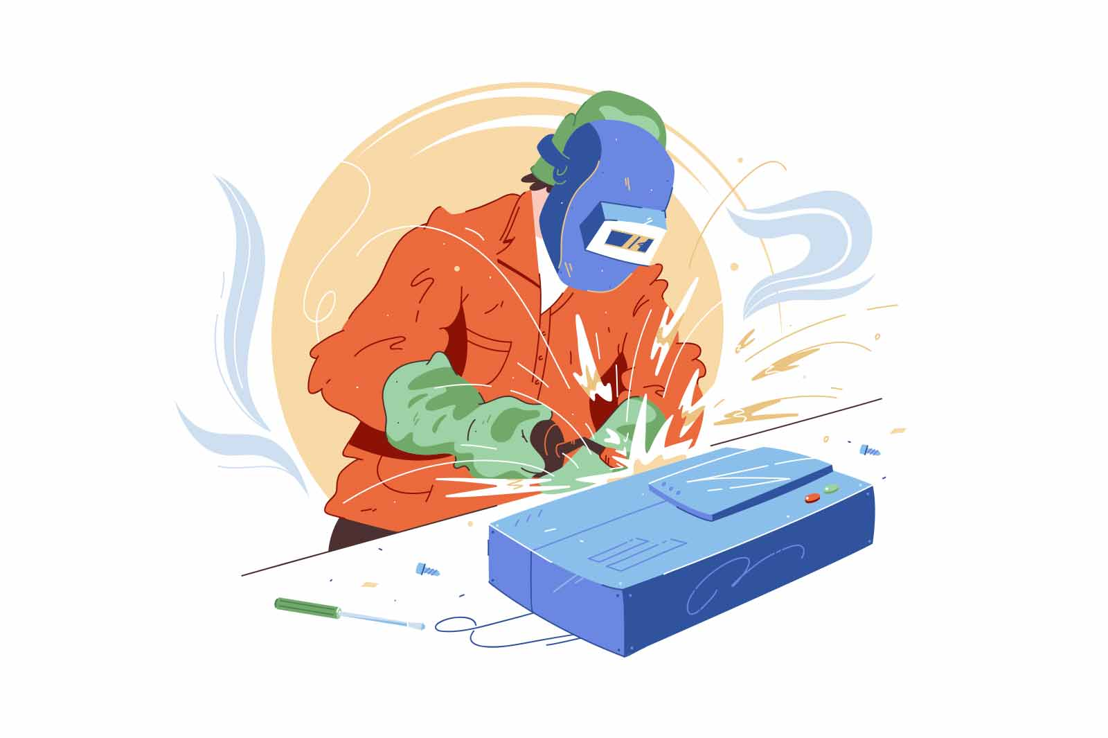 Welder character with welding tool vector illustration. Man in welding mask, jumpsuit and gloves flat style. Handyman, fixer concept