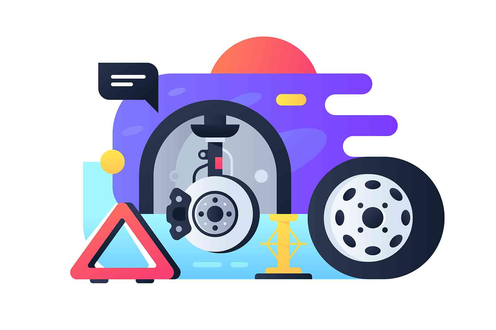 Modern wheel replacement process in car service. Isolated icon concept vehicle repair using jack, warning triangle in online web style.