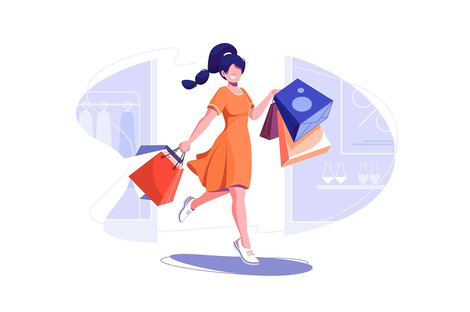 Fashionable woman holding packages with clothes after shopping vector illustration. Come out of shop flat style. Shopping, fashion concept