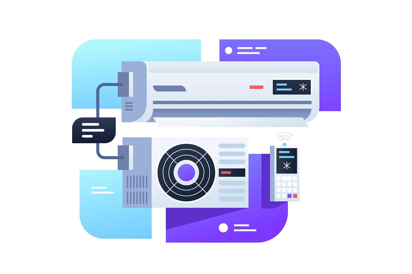 Modern air conditioning with remote control device. Isolated concept digital technology icon on description box background. Vector illustration.