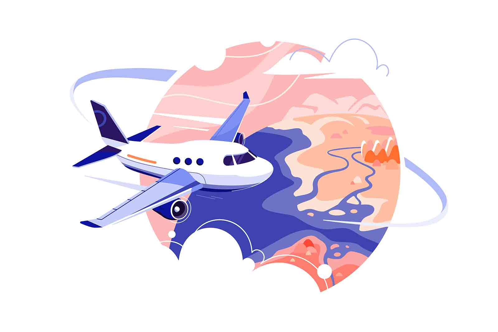 Airplane flying through clouds in sky vector illustration. Go on vacation flat style. Travel around world, explore new places concept