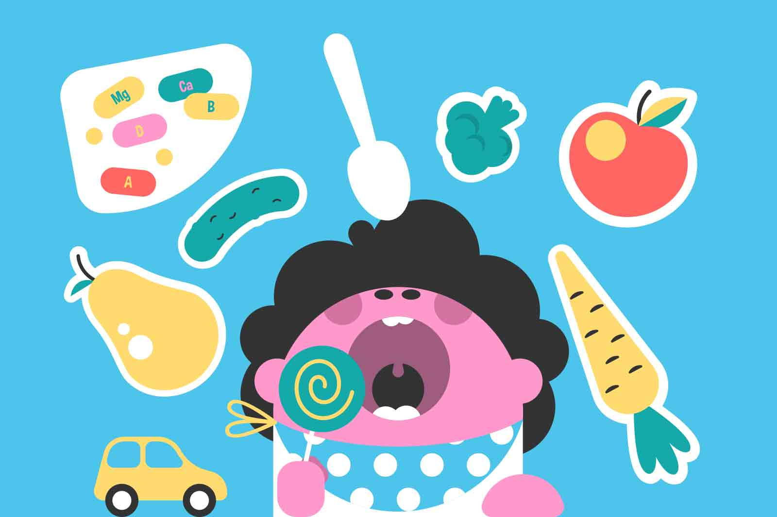Baby open mouth to take vitamin vector illustration. Healthy nutrition for kid flat style. Vitaminized eating, vegetable and fruit concept