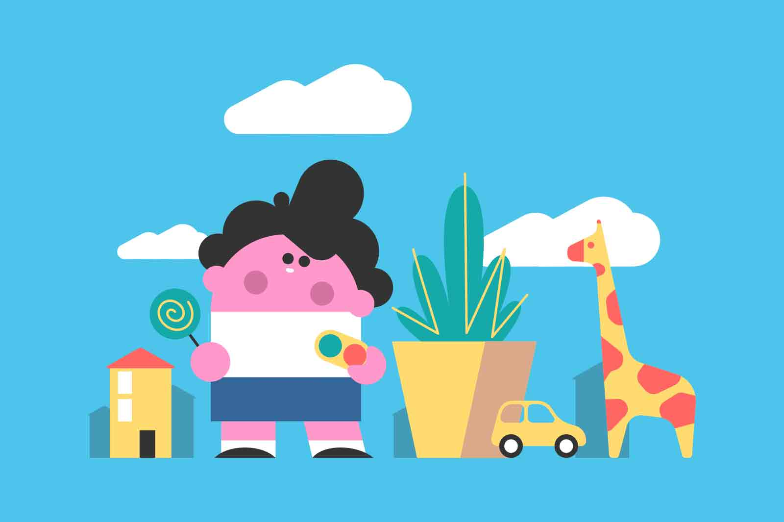 Baby boy walking with lollipop vector illustration. Child licking candy on stick in park flat style. Childhood, sweets, snack concept