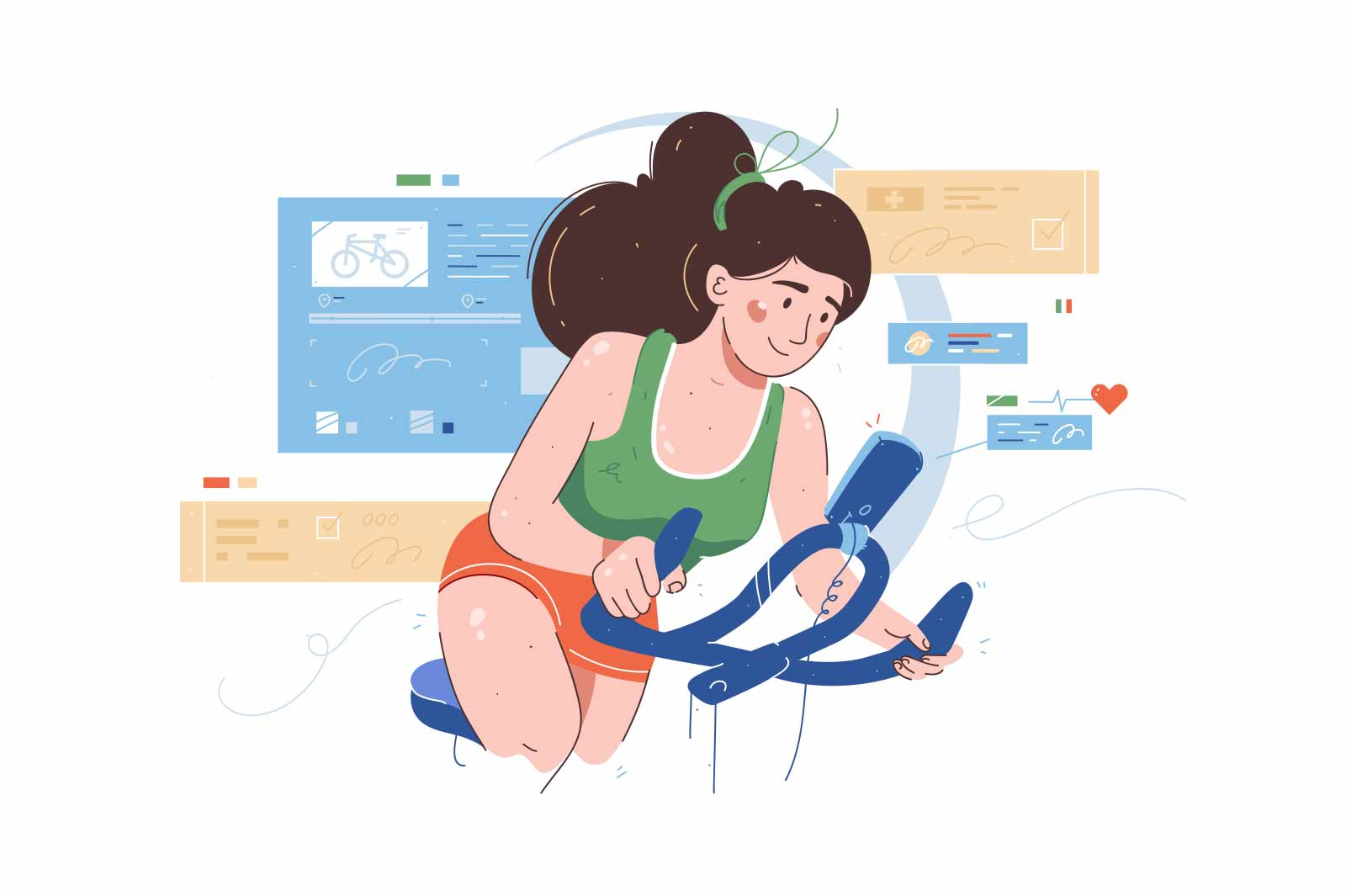 Exercise stationery bike and training apparatus vector illustration. Girl train on vehicle flat style. Sport, activity, workout concept