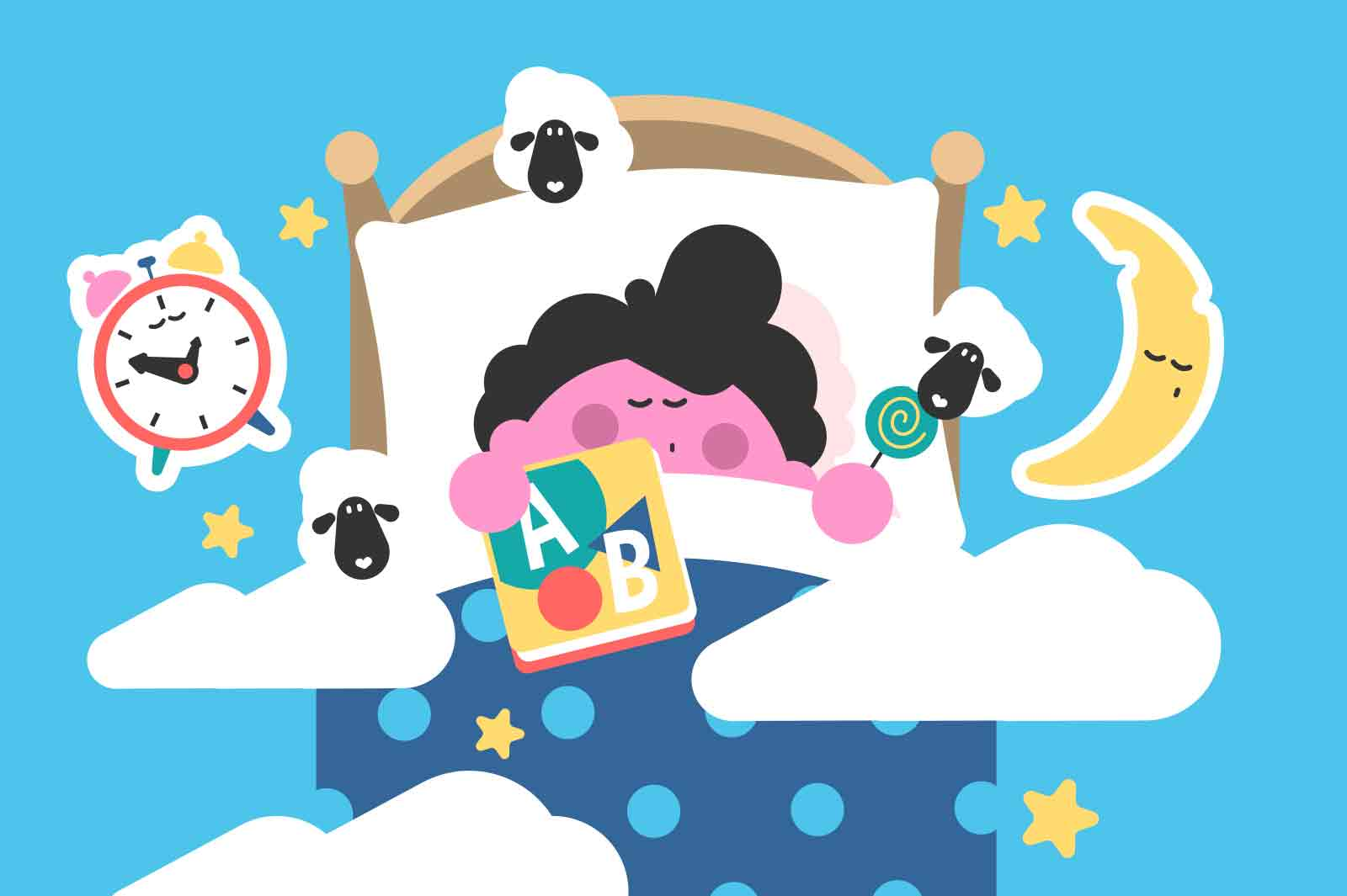 Boy sleeping in bed and dreaming vector illustration. Kid get rest at night with toys flat style. Goodnight, sweet dreams, childhood concept