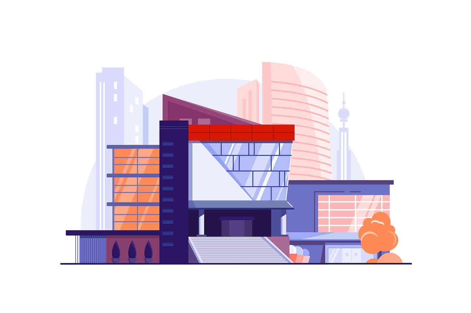 Modern urban building business center vector illustration. Main city street, luxury construction flat style. Architecture, exterior concept