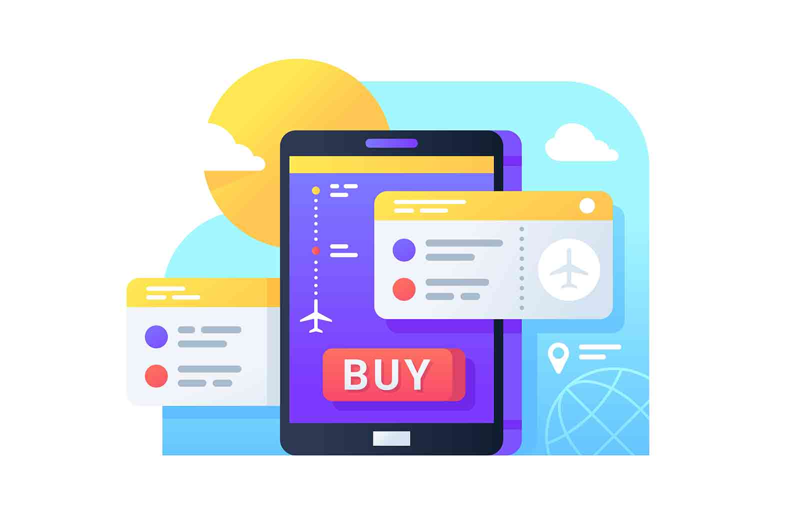 Buying air tickets online. Isolated icon concept of cellphone using app for booking aircraft trip. Vector illustration.