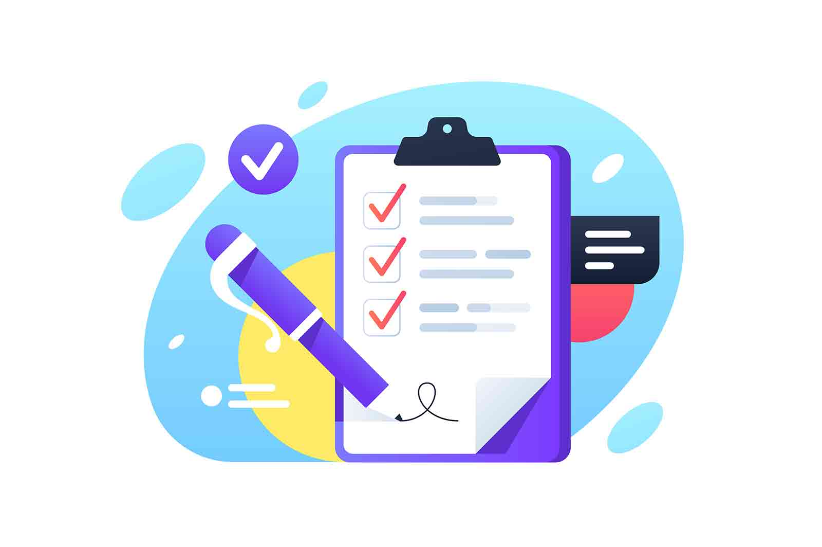 Check list with check boxes and pen. Isolated concept tablet using business manager system for business documents. Vector illustration.