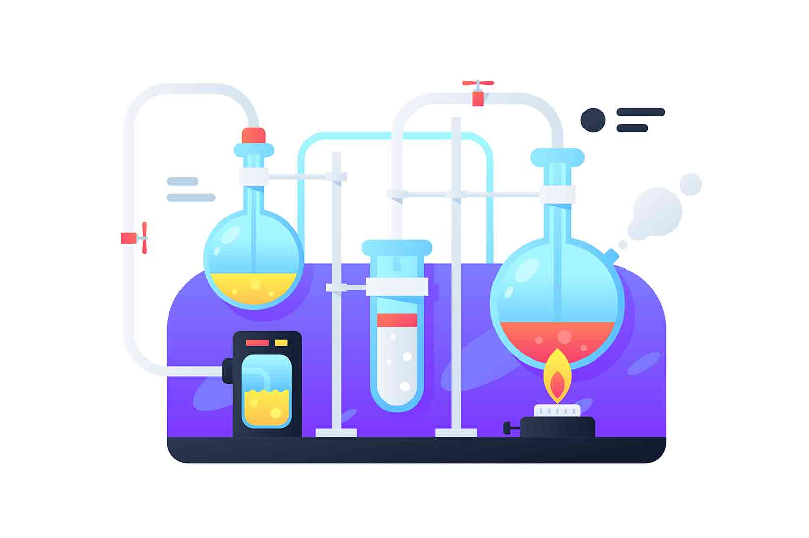 Modern flasks with liquid for chemical transformations. Concept scientific experiment using fire for development medicines. Vector illustration.