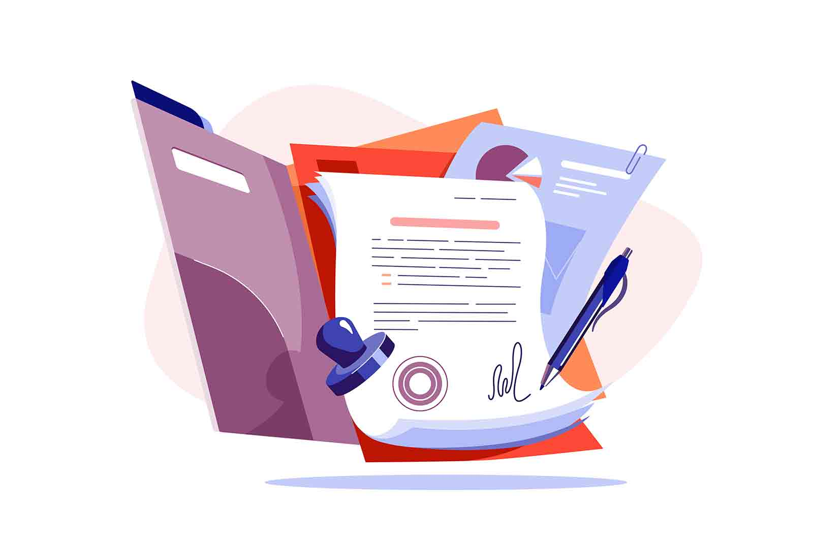 Paper for new business contract vector illustration. Successful work deal with stamp flat style. Agreement, signature, deal, success concept
