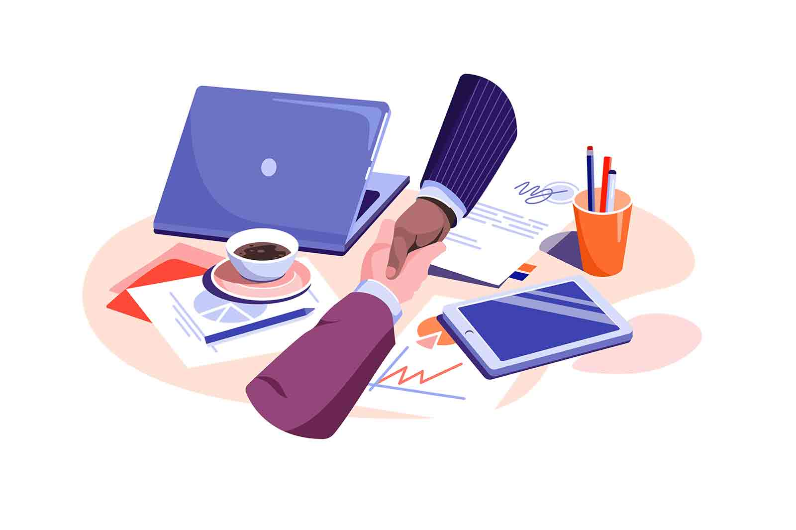 Business people shaking hands over paper vector illustration. Make contract on coffee break flat style. Deal, agreement, partnership concept
