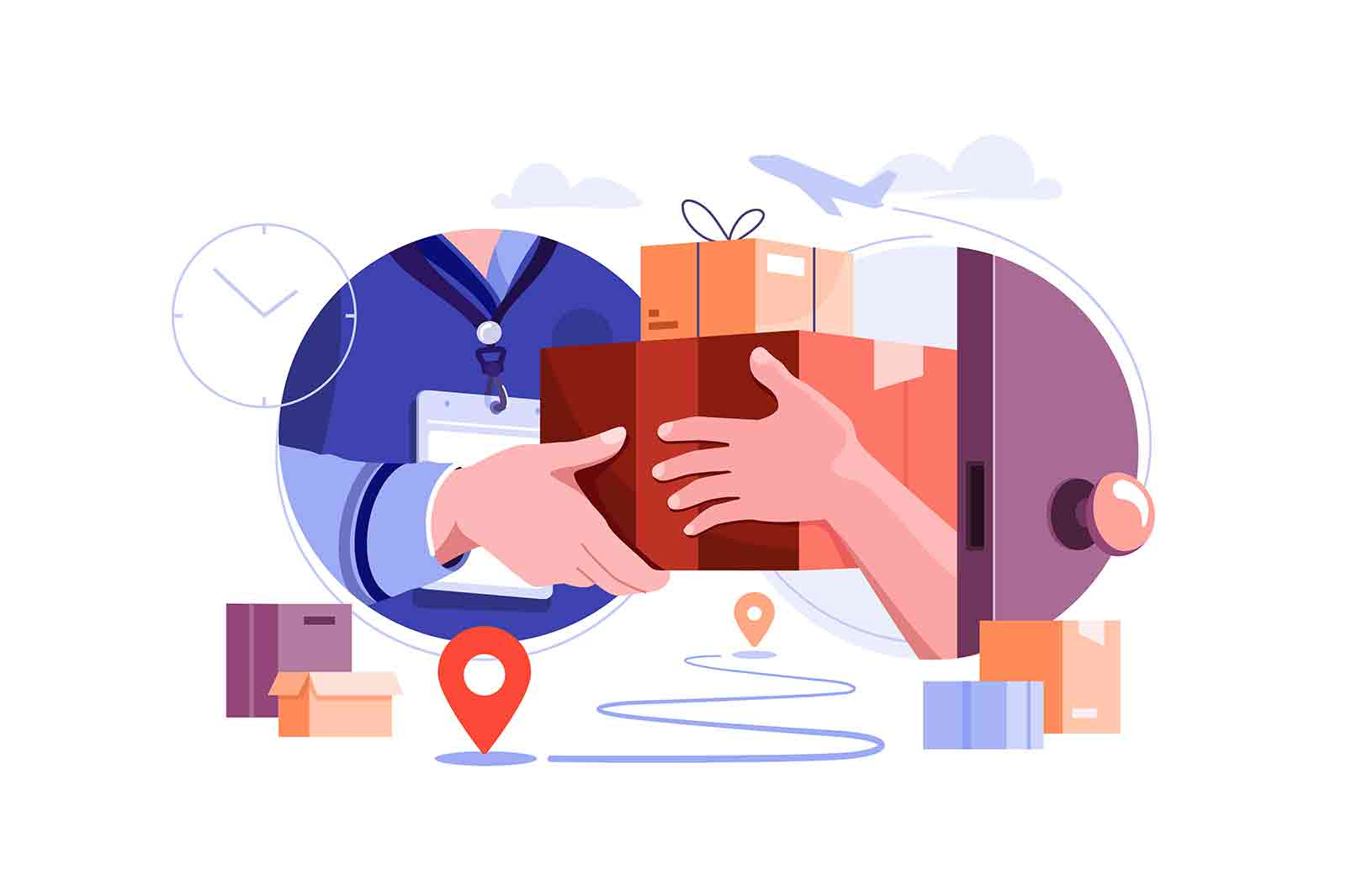 Delivery courier give package to owner vector illustration. Fast delivery to client home flat style. Delivery service, receive order concept