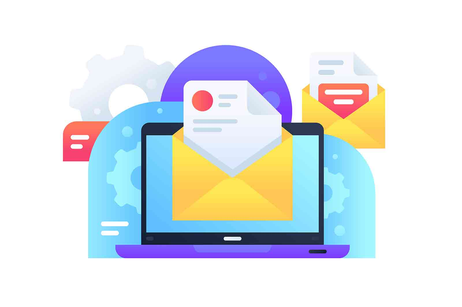 Modern email marketing delivery ad for spread of information using internet. Concept online delivery of letters in envelope laptop, web. Vector illustration.