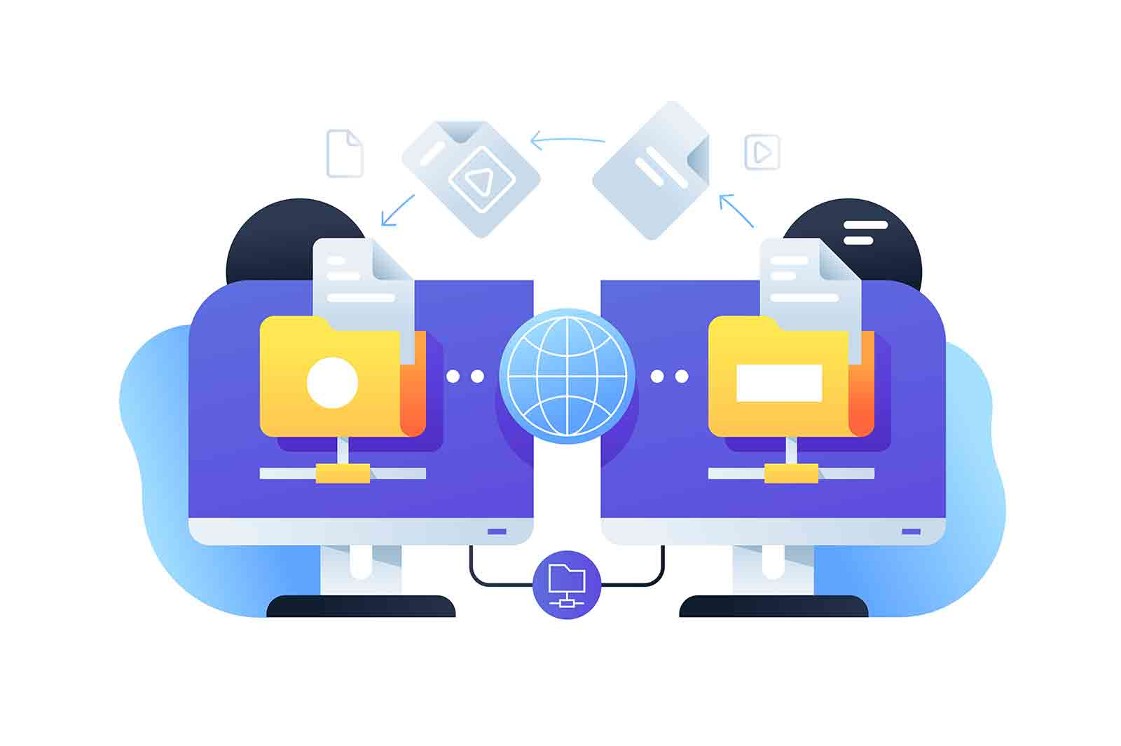 Computer digital file sharing using connection with online app. Technology for web business documents using network service.